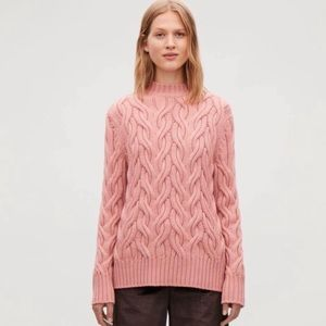 COS Thick Cable Knit Jumper Crew Wool Sweater L